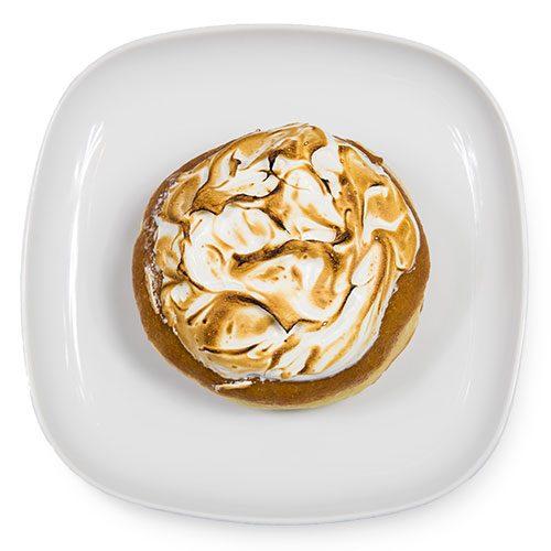 Lemon Meringue doughnut on a plate